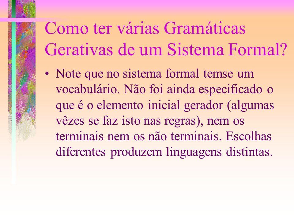 Relação com Sistemas Formais A definição de uma linguagem por gramáticas gerativas tem grande relação com o estudo dos Sistemas Formais, podendo mesmo