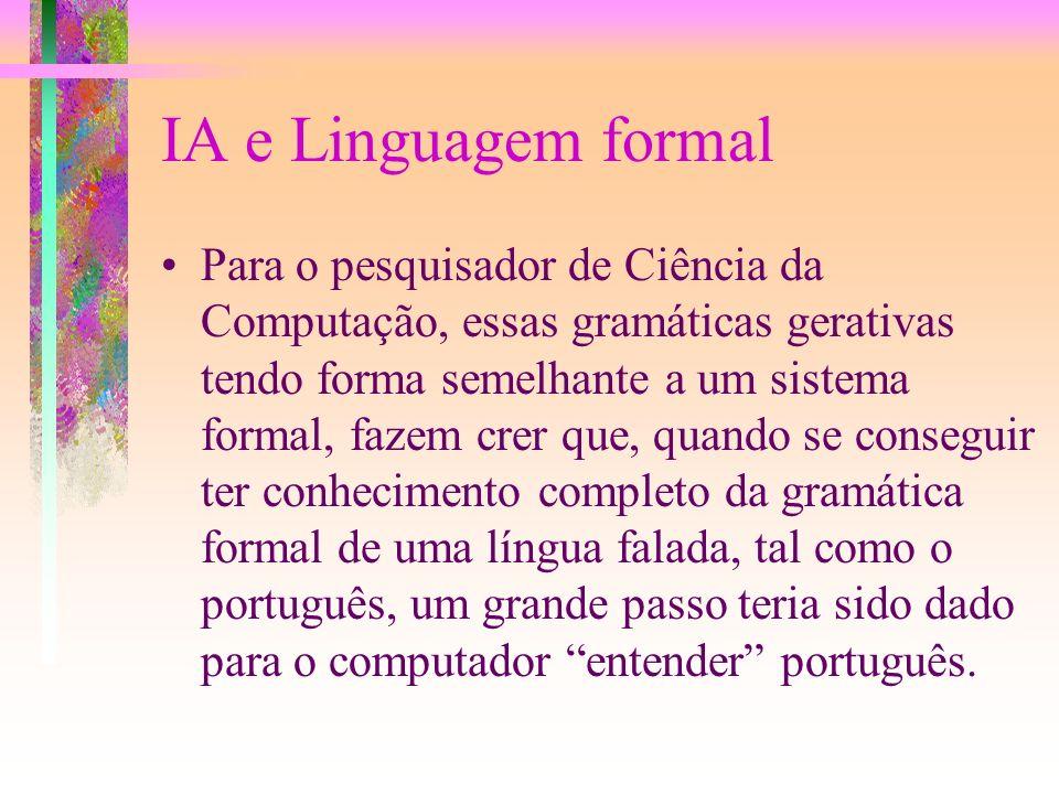 Uso em Linguagem Natural Os linguistas se preocupam não somente em definir precisamente o que é uma sentença correta mas também dar uma descrição da e
