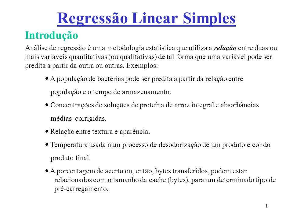 1 Regressão Linear Simples Introdução Análise de regressão é uma metodologia estatística que utiliza a relação entre duas ou mais variáveis quantitati