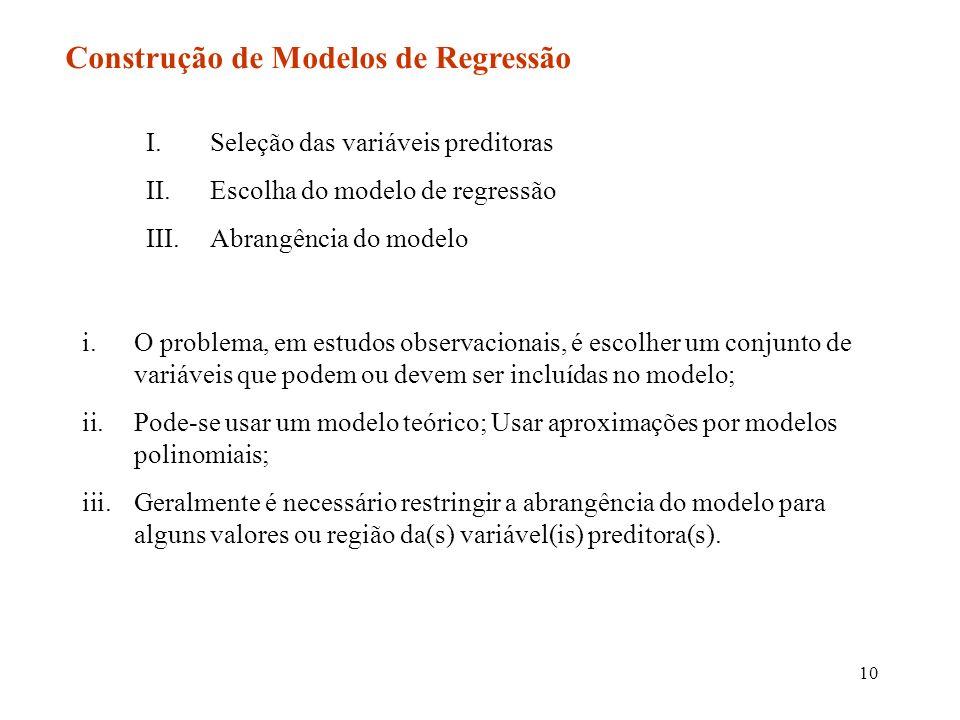 10 Construção de Modelos de Regressão I.Seleção das variáveis preditoras II.Escolha do modelo de regressão III.Abrangência do modelo i.O problema, em