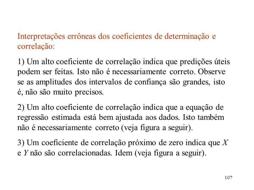 107 Interpretações errôneas dos coeficientes de determinação e correlação: 1) Um alto coeficiente de correlação indica que predições úteis podem ser f