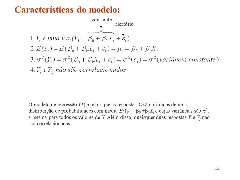13 Características do modelo: aleatório O modelo de regressão (2) mostra que as respostas Y i são oriundas de uma distribuição de probabilidades com m