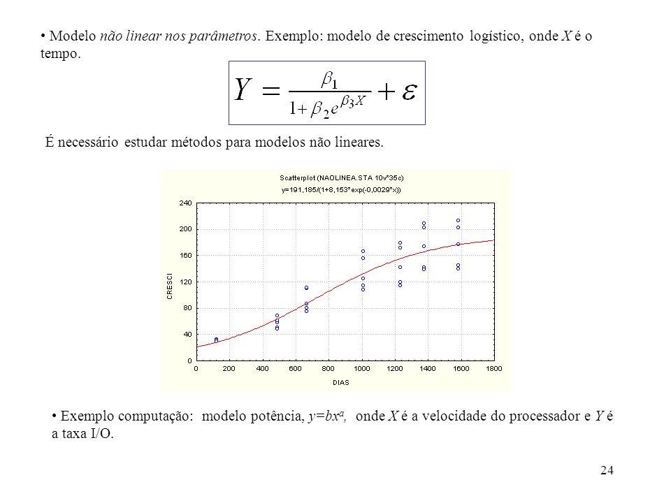 24 Modelo não linear nos parâmetros. Exemplo: modelo de crescimento logístico, onde X é o tempo. É necessário estudar métodos para modelos não lineare