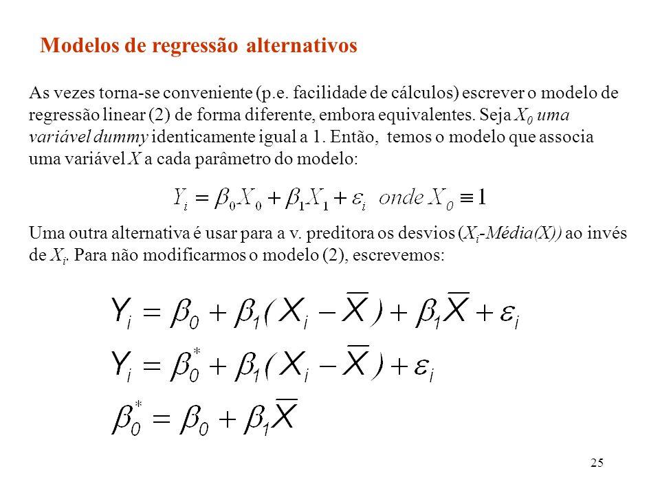 25 Modelos de regressão alternativos As vezes torna-se conveniente (p.e. facilidade de cálculos) escrever o modelo de regressão linear (2) de forma di