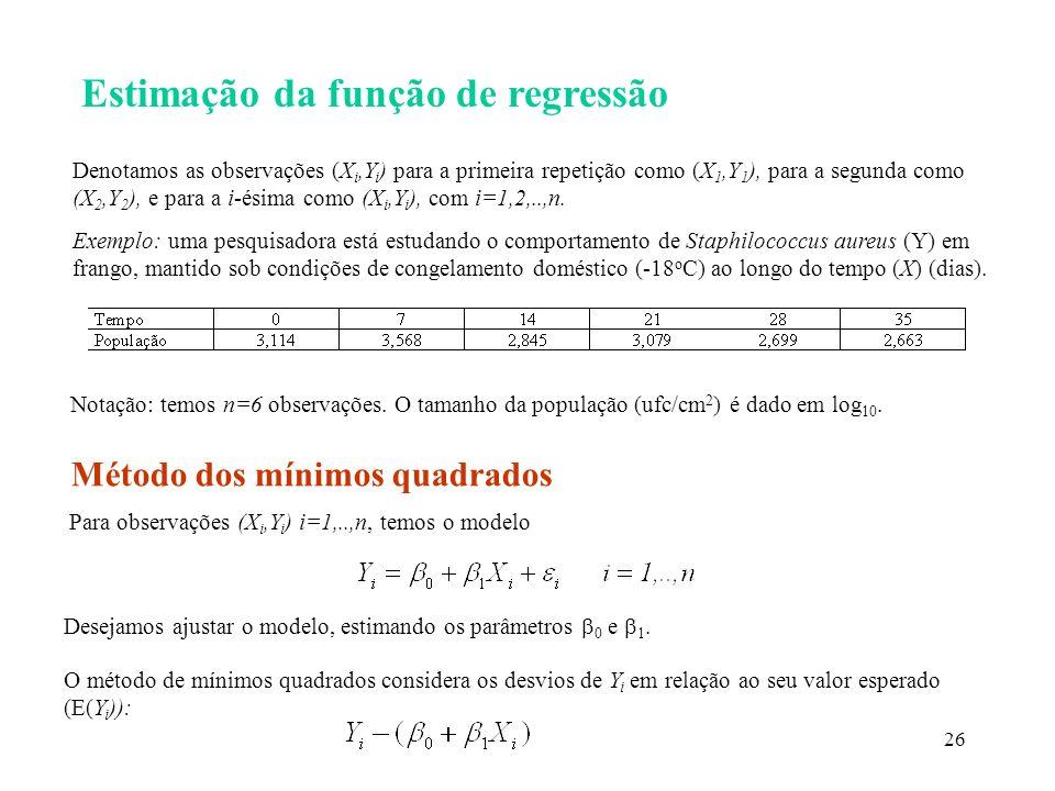 26 Estimação da função de regressão Denotamos as observações (X i,Y i ) para a primeira repetição como (X 1,Y 1 ), para a segunda como (X 2,Y 2 ), e p