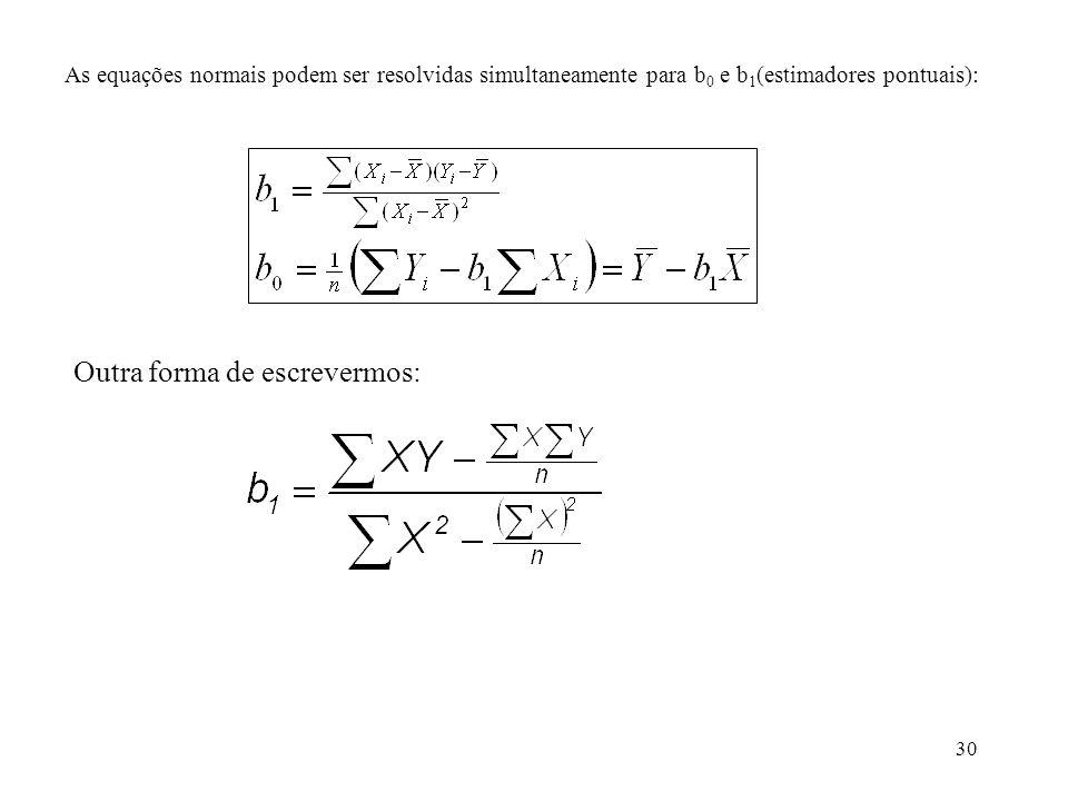 30 As equações normais podem ser resolvidas simultaneamente para b 0 e b 1 (estimadores pontuais): Outra forma de escrevermos: