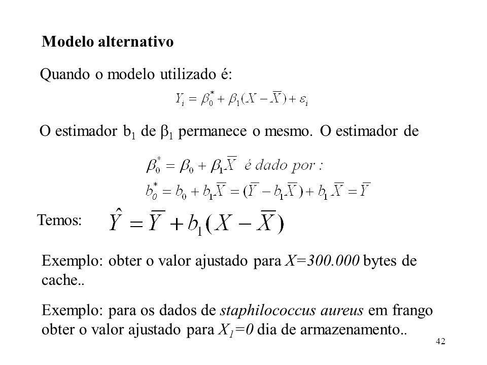 42 Modelo alternativo Quando o modelo utilizado é: O estimador b 1 de 1 permanece o mesmo. O estimador de Temos: Exemplo: para os dados de staphilococ