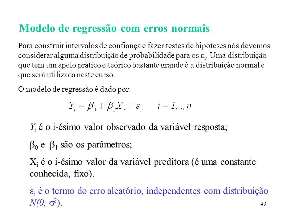 49 Modelo de regressão com erros normais Para construir intervalos de confiança e fazer testes de hipóteses nós devemos considerar alguma distribuição