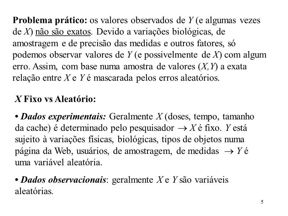 5 Problema prático: os valores observados de Y (e algumas vezes de X) não são exatos. Devido a variações biológicas, de amostragem e de precisão das m