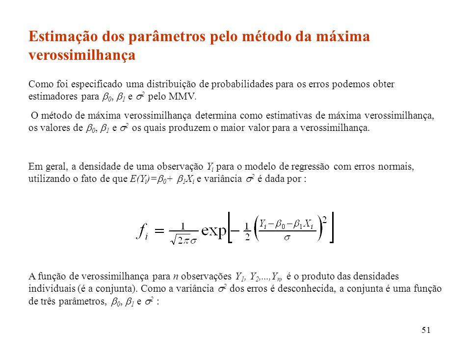51 Estimação dos parâmetros pelo método da máxima verossimilhança Como foi especificado uma distribuição de probabilidades para os erros podemos obter