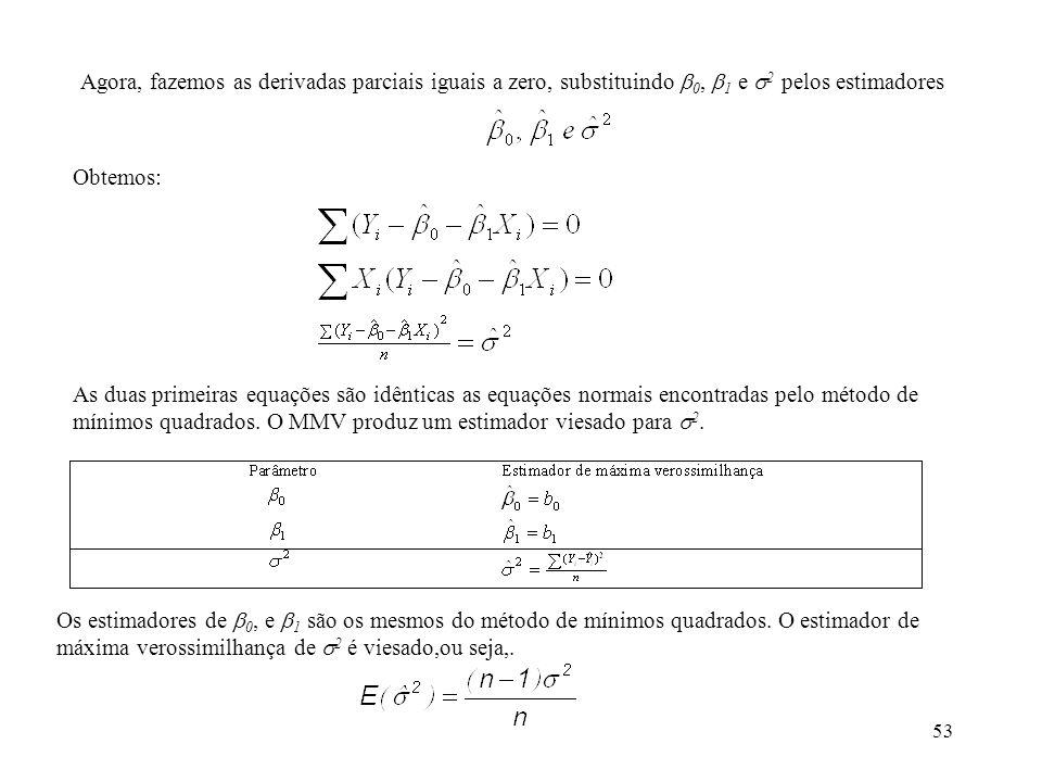 53 Agora, fazemos as derivadas parciais iguais a zero, substituindo 0, 1 e 2 pelos estimadores Obtemos: As duas primeiras equações são idênticas as eq