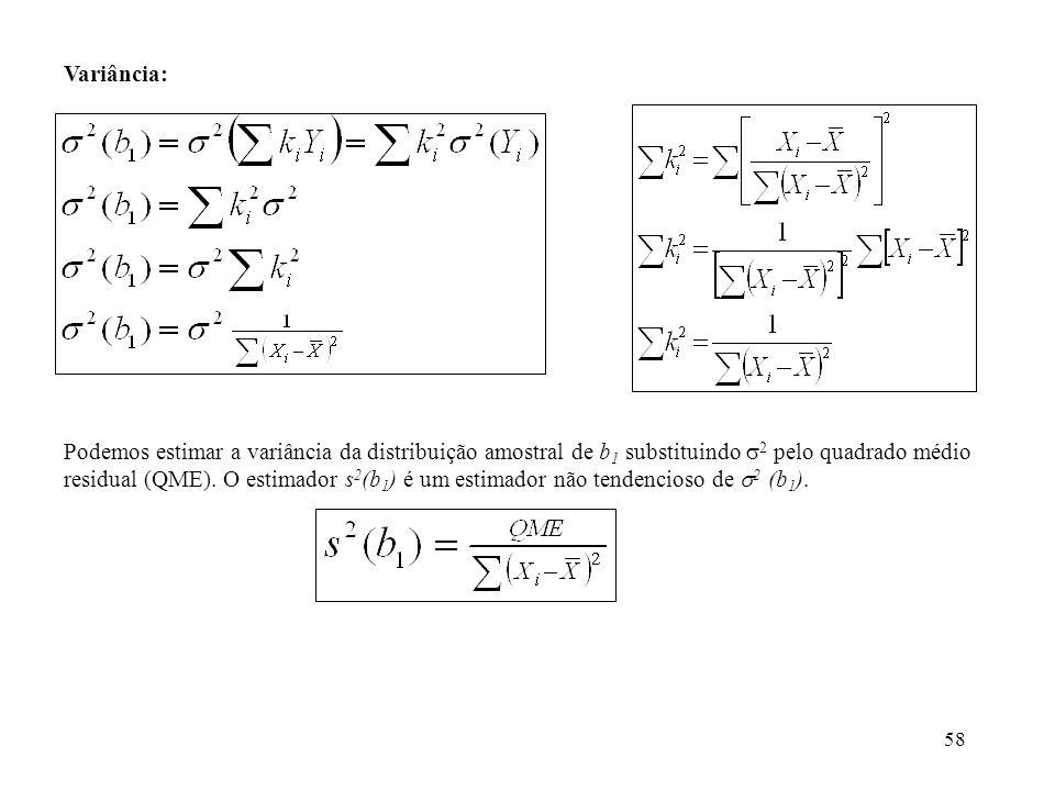58 Variância: Podemos estimar a variância da distribuição amostral de b 1 substituindo 2 pelo quadrado médio residual (QME). O estimador s 2 (b 1 ) é