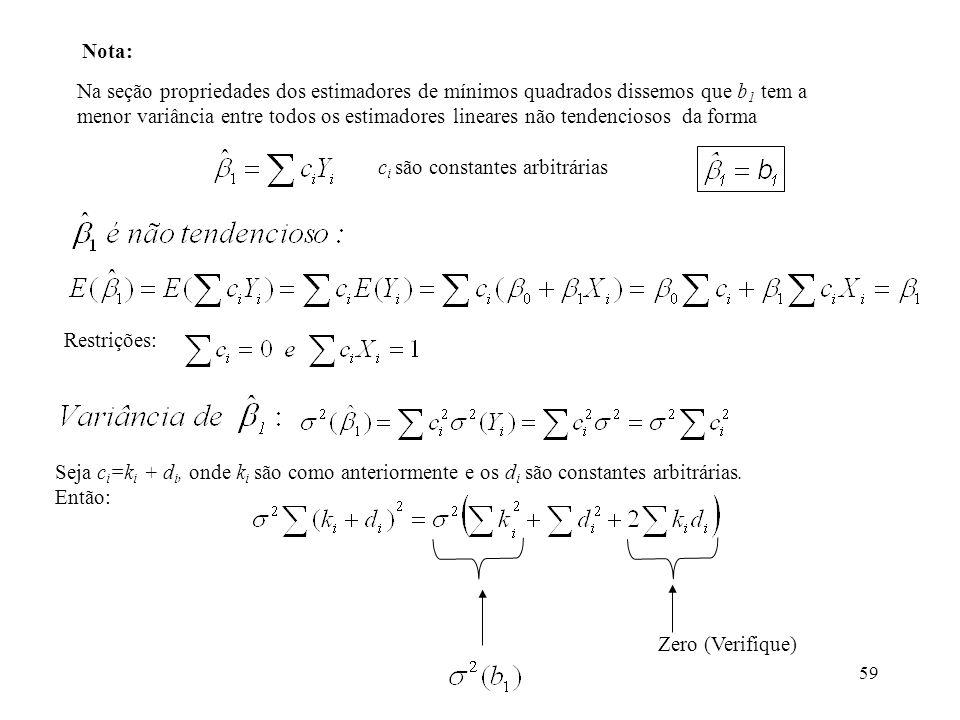 59 Na seção propriedades dos estimadores de mínimos quadrados dissemos que b 1 tem a menor variância entre todos os estimadores lineares não tendencio