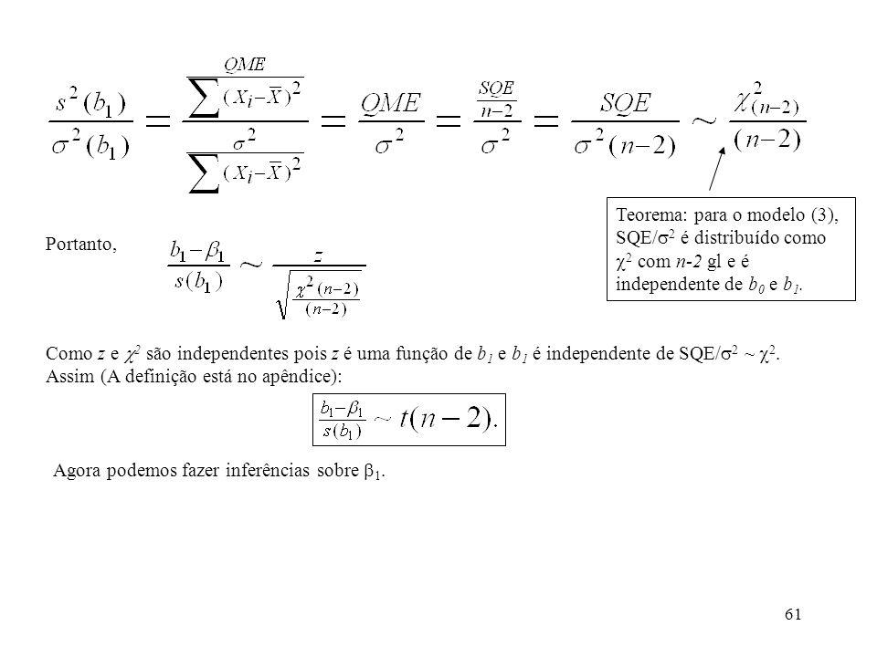 61 Portanto, Como z e 2 são independentes pois z é uma função de b 1 e b 1 é independente de SQE/ 2 ~ 2. Assim (A definição está no apêndice): Teorema