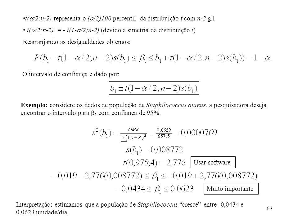 63 t( /2;n-2) representa o ( /2)100 percentil da distribuição t com n-2 g.l. t( /2;n-2) = - t(1- /2;n-2) (devido a simetria da distribuição t) Rearran