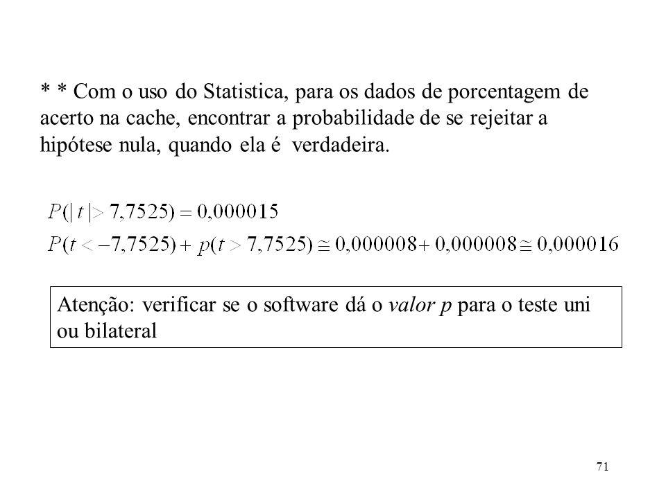 71 * * Com o uso do Statistica, para os dados de porcentagem de acerto na cache, encontrar a probabilidade de se rejeitar a hipótese nula, quando ela