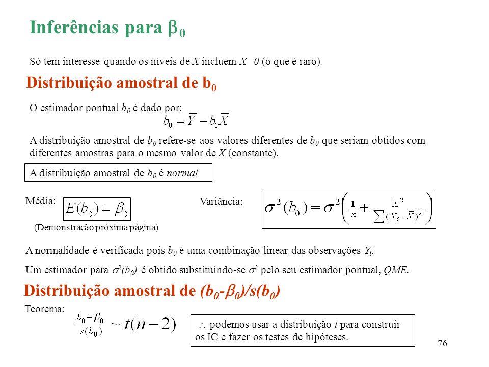 76 Inferências para 0 Só tem interesse quando os níveis de X incluem X=0 (o que é raro). Distribuição amostral de b 0 O estimador pontual b 0 é dado p