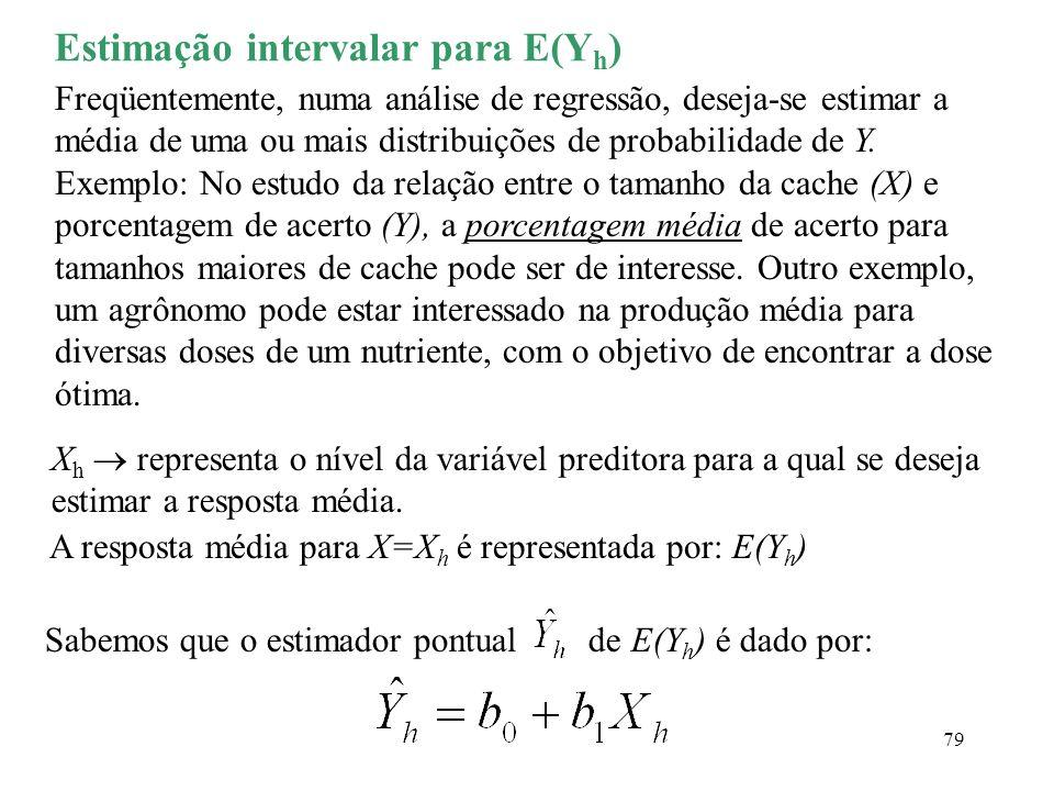 79 Estimação intervalar para E(Y h ) Freqüentemente, numa análise de regressão, deseja-se estimar a média de uma ou mais distribuições de probabilidad