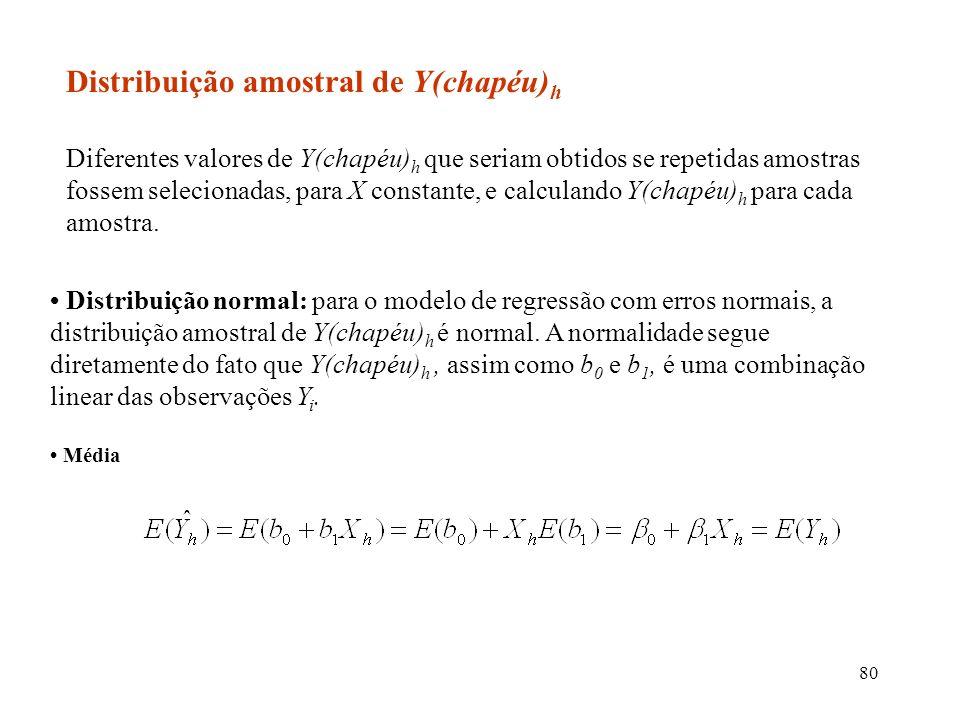 80 Distribuição normal: para o modelo de regressão com erros normais, a distribuição amostral de Y(chapéu) h é normal. A normalidade segue diretamente