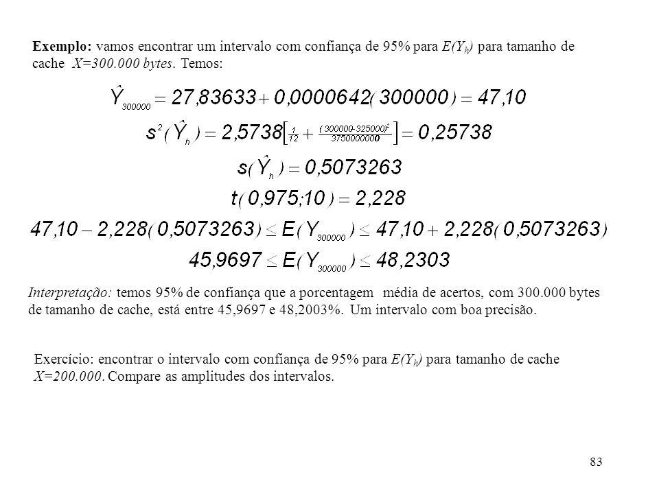 83 Exemplo: vamos encontrar um intervalo com confiança de 95% para E(Y h ) para tamanho de cache X=300.000 bytes. Temos: Interpretação: temos 95% de c