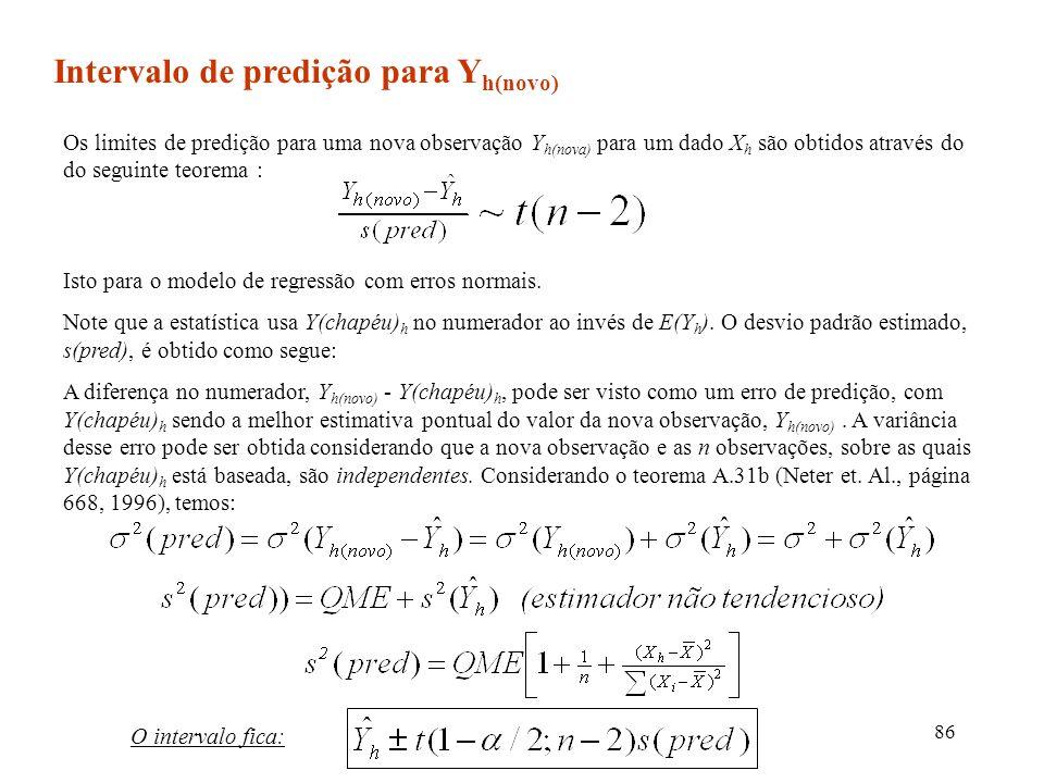 86 Intervalo de predição para Y h(novo) Os limites de predição para uma nova observação Y h(nova) para um dado X h são obtidos através do do seguinte
