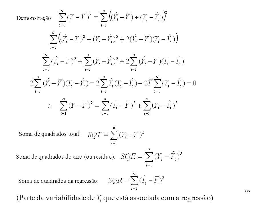 93 Soma de quadrados total: Soma de quadrados do erro (ou resíduo): Soma de quadrados da regressão: Demonstração: (Parte da variabilidade de Y i que e