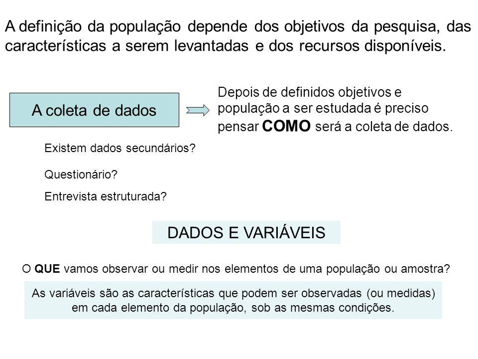 A definição da população depende dos objetivos da pesquisa, das características a serem levantadas e dos recursos disponíveis.