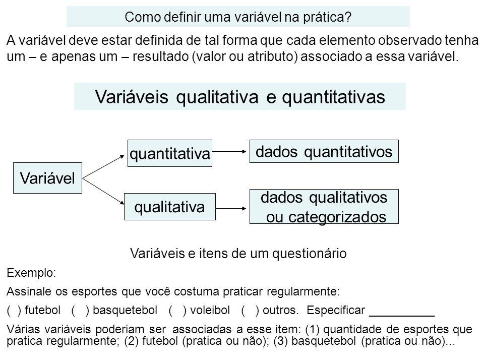 ELABORAÇÃO DE UM QUESTIONÁRIO Separar as características (variáveis) a serem levantadas; Fazer uma revisão bibliográfica para verificar formas de mensurar as variáveis em estudo; Estabelecer a forma de mensuração das variáveis a serem levantadas; Elaborar uma ou mais perguntas para cada variável a ser observada; Verificar se a pergunta está suficientemente clara; Verificar se a forma da pergunta não está induzindo alguma resposta; Verificar se a resposta da pergunta não é óbvia.