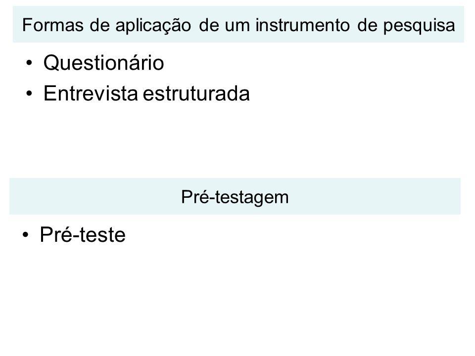 Formas de aplicação de um instrumento de pesquisa Questionário Entrevista estruturada Pré-testagem Pré-teste