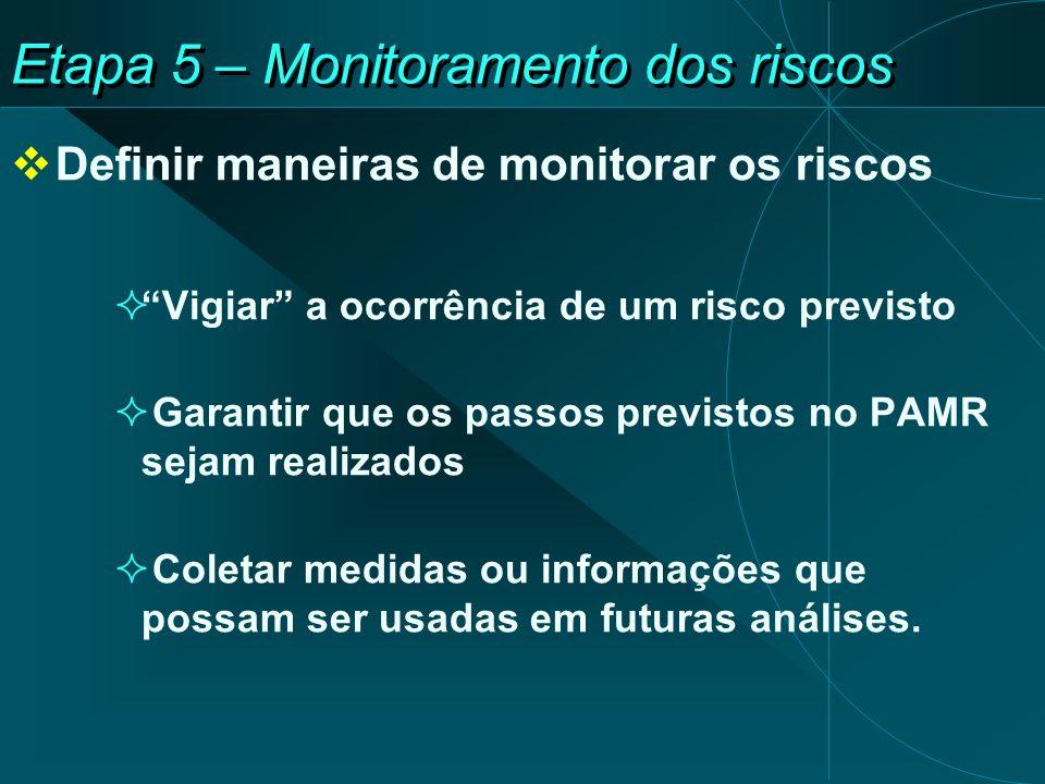 Etapa 5 – Monitoramento dos riscos Definir maneiras de monitorar os riscos Vigiar a ocorrência de um risco previsto Garantir que os passos previstos no PAMR sejam realizados Coletar medidas ou informações que possam ser usadas em futuras análises.