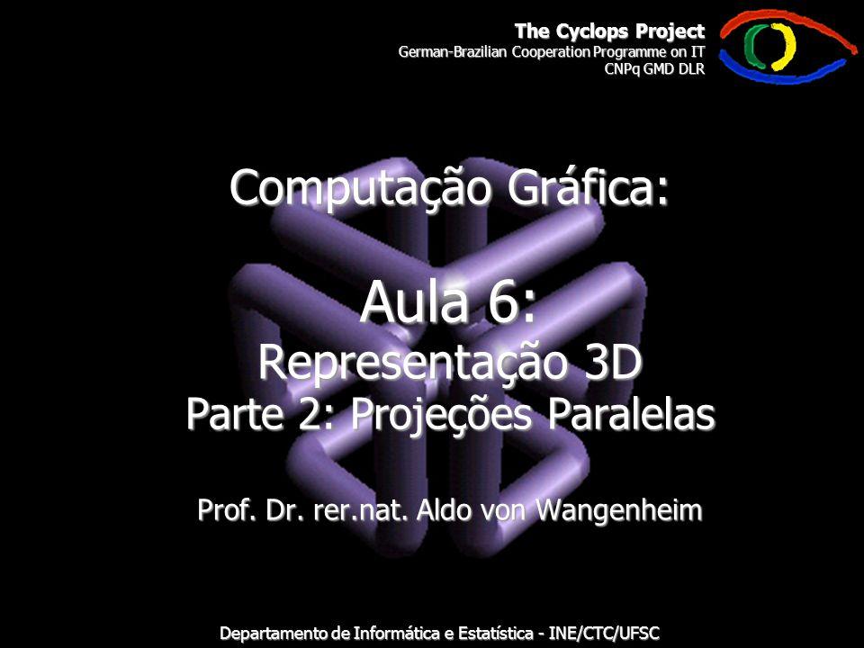 The Cyclops Project German-Brazilian Cooperation Programme on IT CNPq GMD DLR Departamento de Informática e Estatística - INE/CTC/UFSC Computação Gráfica: Aula 6: Representação 3D Parte 2: Projeções Paralelas Prof.