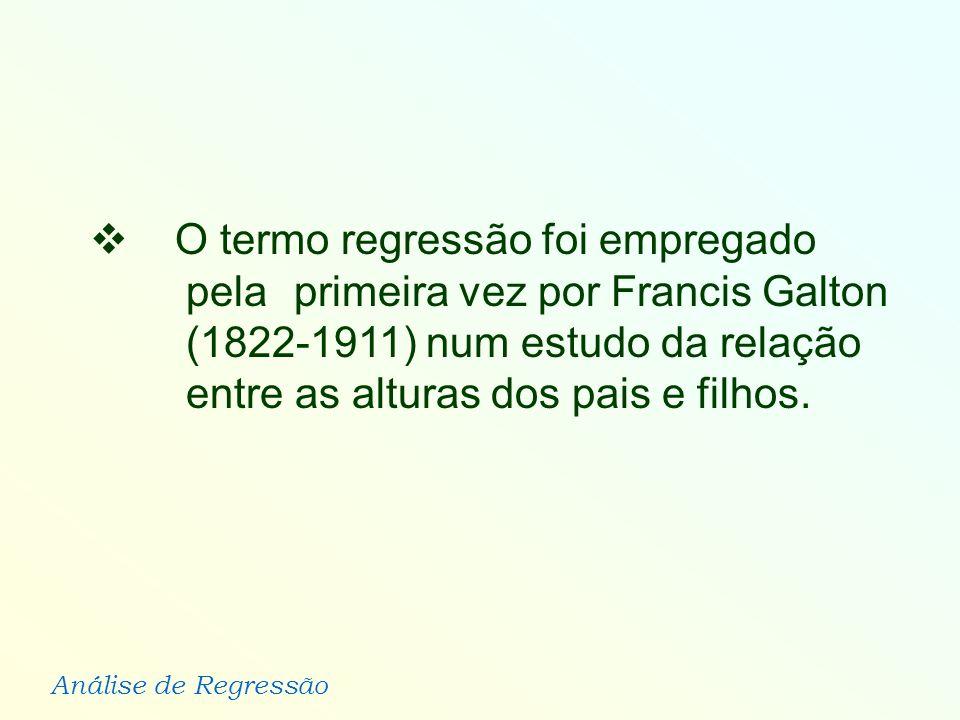Análise de Regressão O termo regressão foi empregado pela primeira vez por Francis Galton (1822-1911) num estudo da relação entre as alturas dos pais