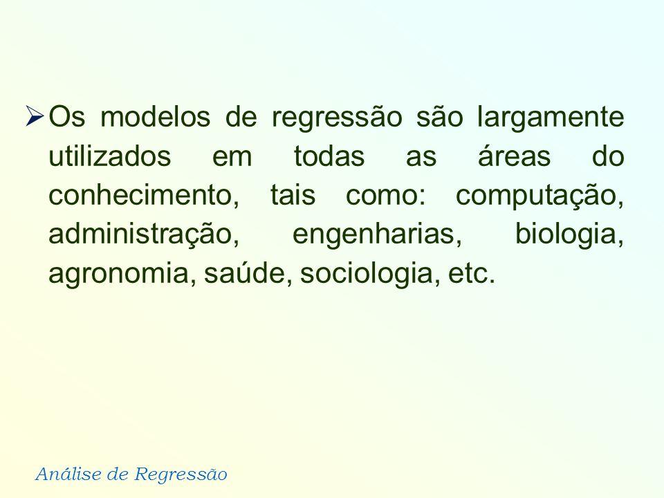 Análise de Regressão Os modelos de regressão são largamente utilizados em todas as áreas do conhecimento, tais como: computação, administração, engenh