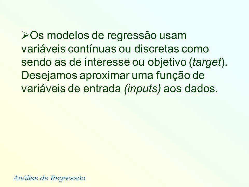 Análise de Regressão Os modelos de regressão usam variáveis contínuas ou discretas como sendo as de interesse ou objetivo (target). Desejamos aproxima