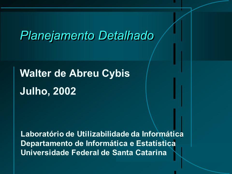 Planejamento Detalhado Walter de Abreu Cybis Julho, 2002 Laboratório de Utilizabilidade da Informática Departamento de Informática e Estatística Unive