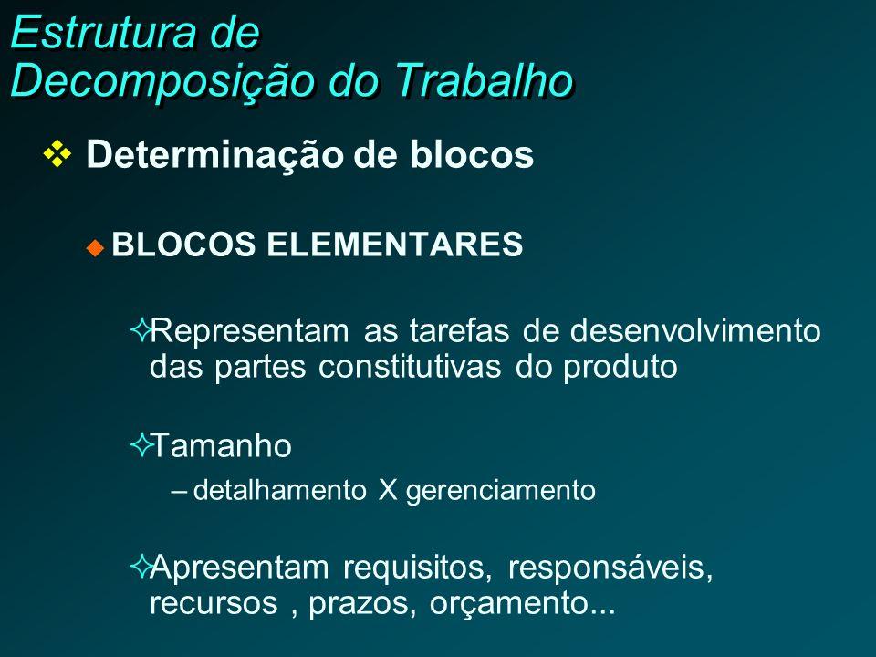 Estrutura de Decomposição do Trabalho Determinação de blocos BLOCOS ELEMENTARES Representam as tarefas de desenvolvimento das partes constitutivas do