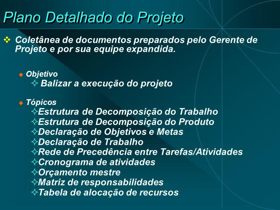 Plano Detalhado do Projeto Coletânea de documentos preparados pelo Gerente de Projeto e por sua equipe expandida. Objetivo Balizar a execução do proje