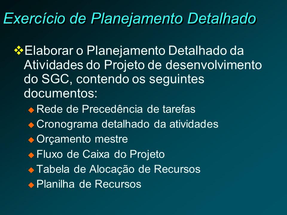Exercício de Planejamento Detalhado Elaborar o Planejamento Detalhado da Atividades do Projeto de desenvolvimento do SGC, contendo os seguintes docume