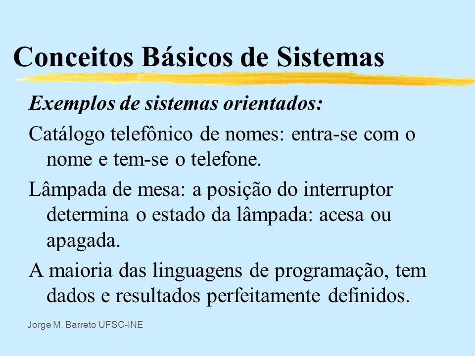 Jorge M. Barreto UFSC-INE Conceitos Básicos de Sistemas Observação: Nem todo sistema é orientado. Um resistor linear, tem modelo dado pela Lei de Ohm: