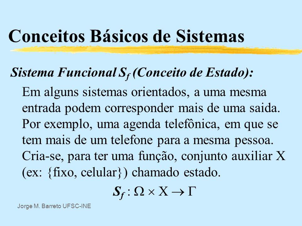 Jorge M. Barreto UFSC-INE Conceitos Básicos de Sistemas Frequentemente é imprescindível especificar claramente qual é o conjunto tempo considerado.