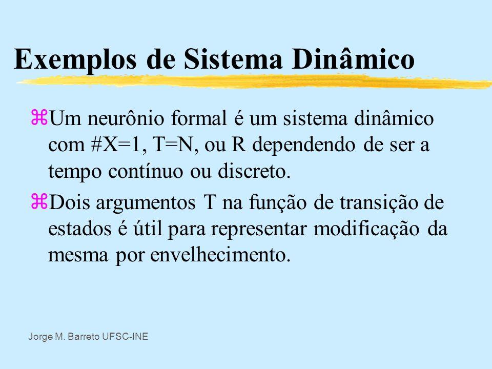 Jorge M. Barreto UFSC-INE Exemplos de Sistema Dinâmico zUm computador é um sistema dinâmico. O tempo T é dado por seu relógio interno, o conjunto de e