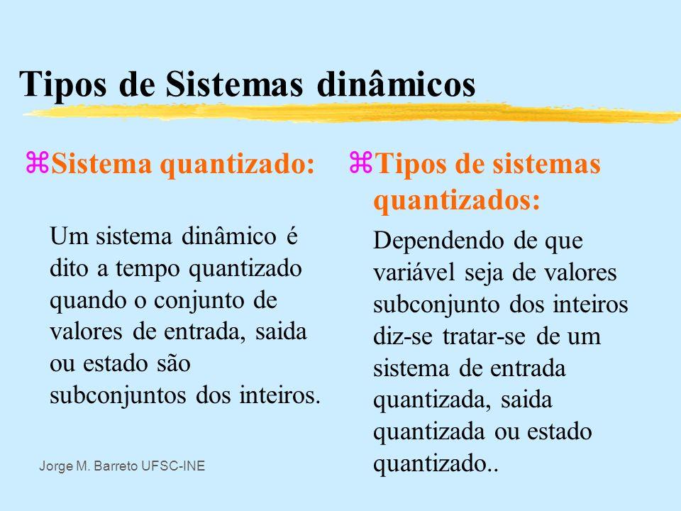 Jorge M. Barreto UFSC-INE Tipos de Sistemas dinâmicos zSistema a tempo contínuo: Um sistema dinâmico é dito a tempo contínuo quando o conjunto T é um
