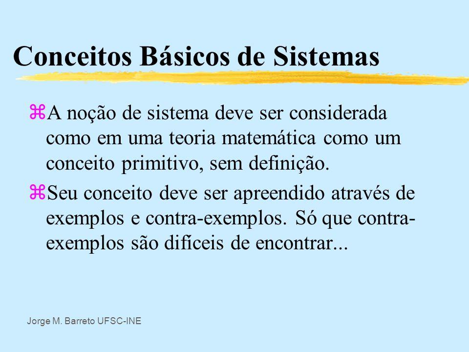 Jorge M. Barreto UFSC-INE Conceitos Básicos de Sistemas zA Teoria Geral de Sistemas é uma teoria matemática que procura tratar de todos os possíveis t