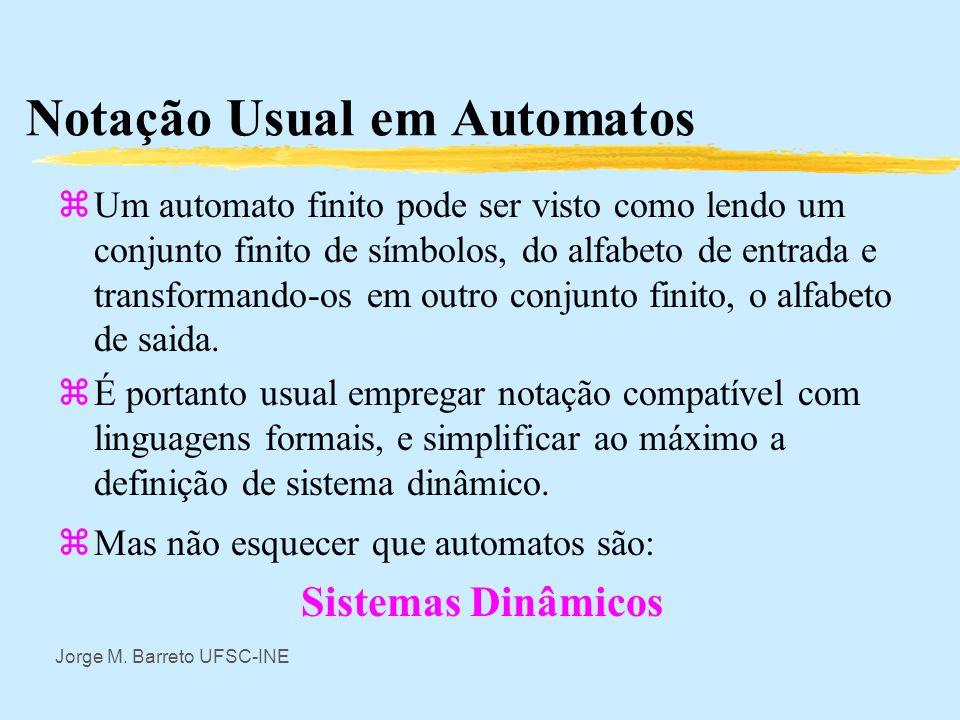Jorge M. Barreto UFSC-INE Representações da Automatos Finitos z2-Associando nós dos grafos aos estados e marcando nos arcos apenas as enrtadas. As sai