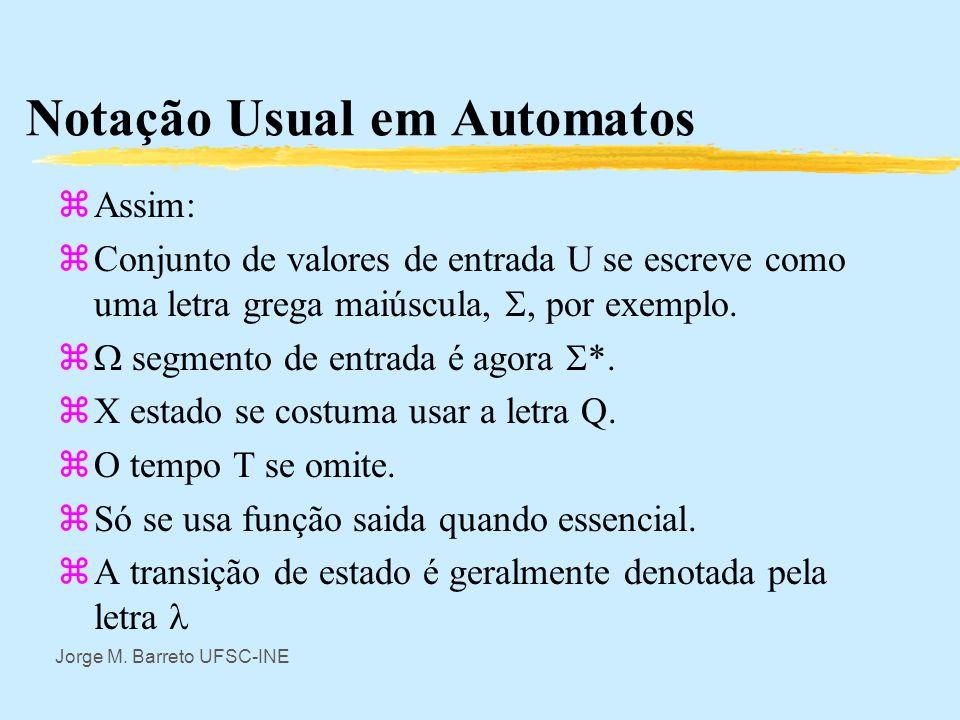 Jorge M. Barreto UFSC-INE Notação Usual em Automatos zUm automato finito pode ser visto como lendo um conjunto finito de símbolos, do alfabeto de entr