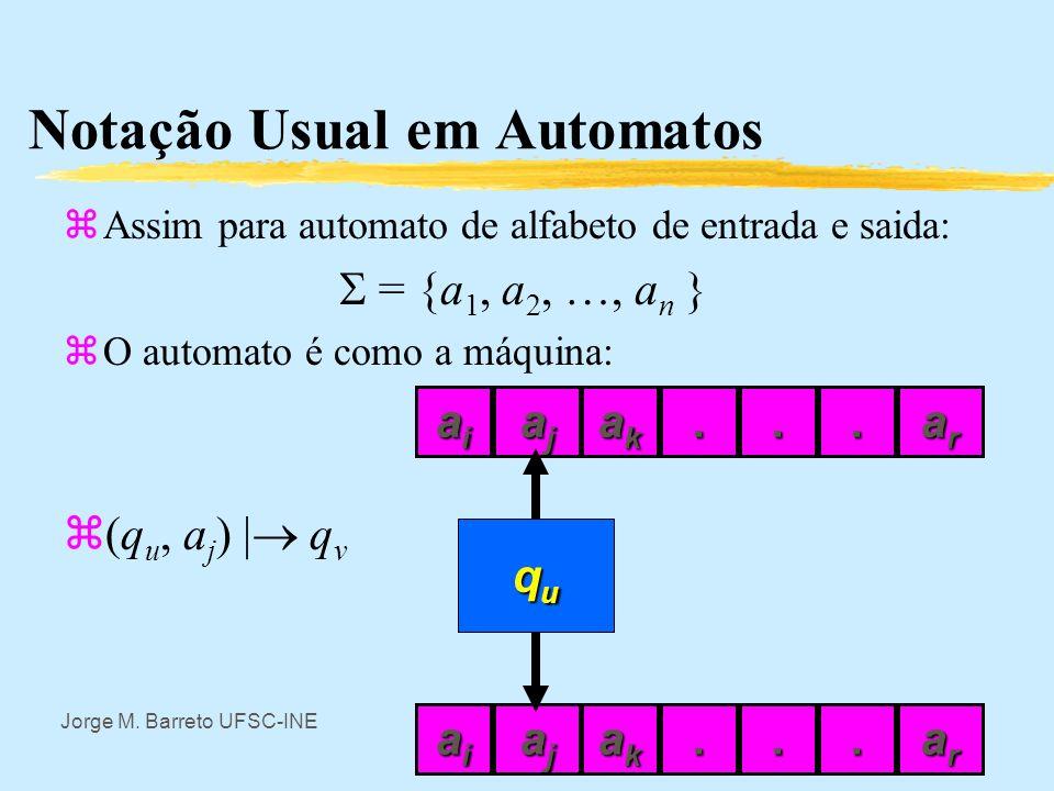 Jorge M. Barreto UFSC-INE Notação Usual em Automatos zAssim: zConjunto de valores de entrada U se escreve como uma letra grega maiúscula,, por exemplo