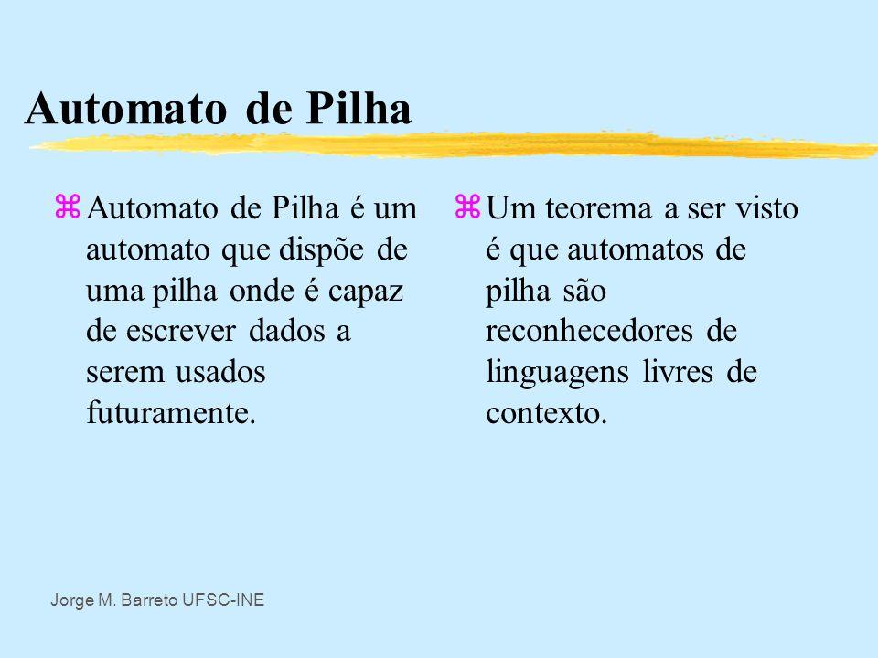 Jorge M. Barreto UFSC-INE Notação Usual em Automatos zAssim para automato de alfabeto de entrada e saida: = {a 1, a 2, …, a n } zO automato é como a m