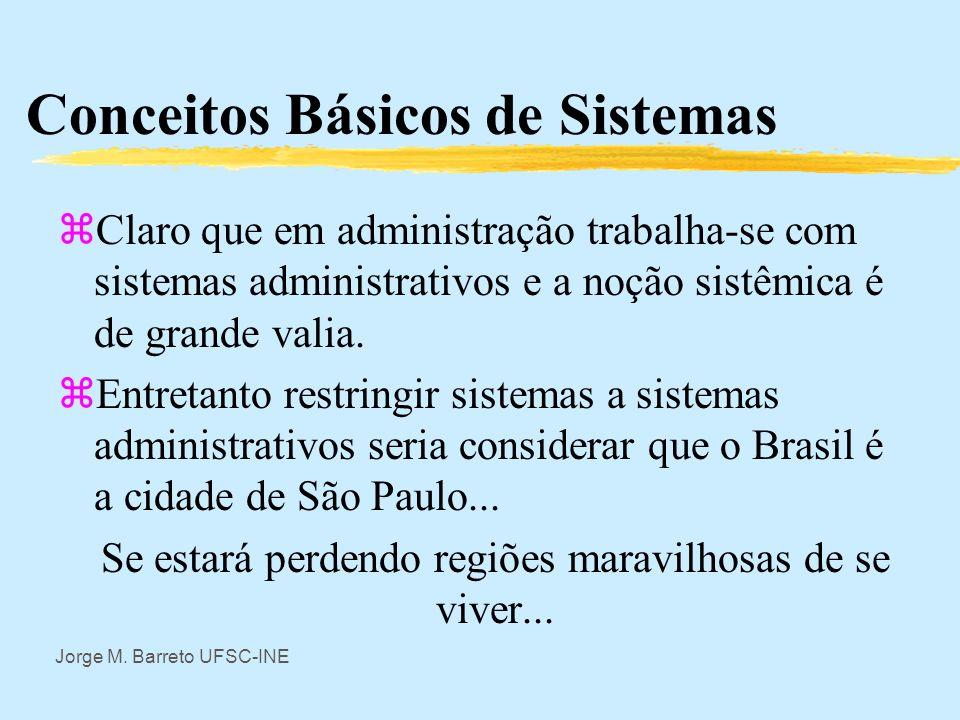 Jorge M. Barreto UFSC-INE Conceitos Básicos de Sistemas zA noção de sistema deve ser considerada como em uma teoria matemática como um conceito primit