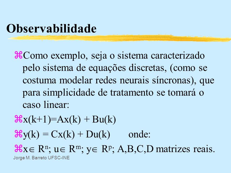 Jorge M. Barreto UFSC-INE Observabilidade zUm sistema dinâmico é dito observável se com informação de um segmento finito de entrada e saida é possivel