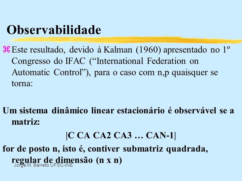 Jorge M. Barreto UFSC-INE Observabilidade zPara uma deducão simplificada seja D matriz nula. zSe n=p=1 y(0) = Cx(0), (1) zC é escalar logo se C 0 x(0)
